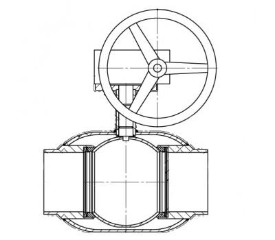 Кран шаровой BREEZE 11с337п прив. 250/250 (PN25) с ред.