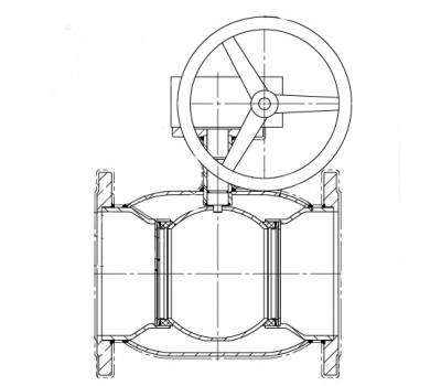 Кран шаровой BREEZE 11с333п фланец 350/300 (PN 16) с ред.