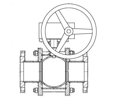 Кран шаровой BREEZE 11с341п фланец 300/300 (PN16) с ред.