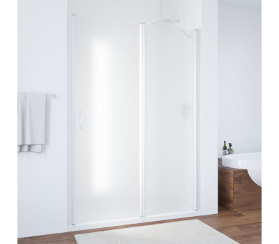 Душевая дверь EP-F-1 100 01 10 L профиль белый стекло сатин