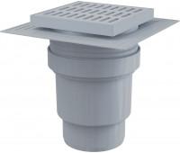 APV11 Сливной трап 150 × 150/110, подводка – прямая, решетка – серая, воротник – 2-х уровневая изоляция, гидрозатвор – мокрый